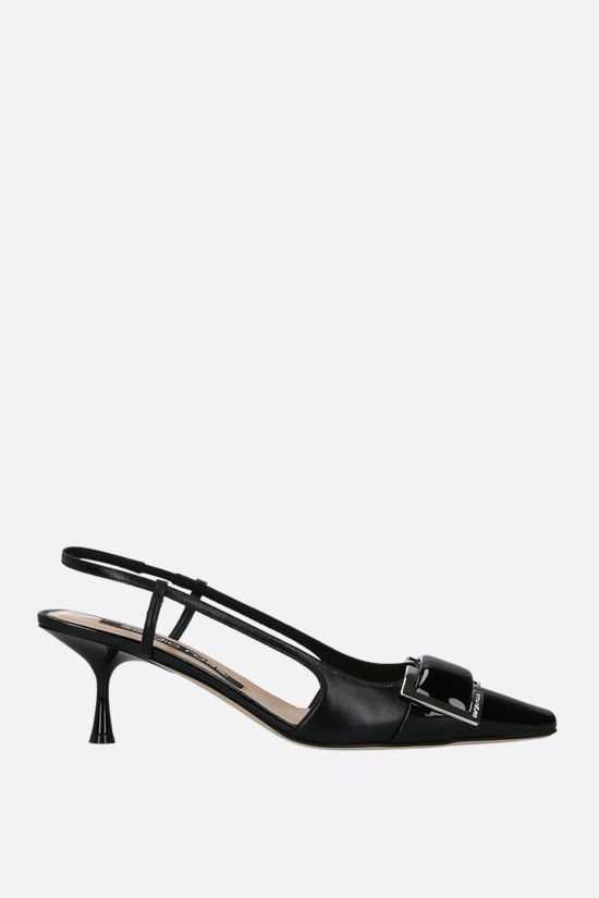 SERGIO ROSSI: sr Twenty patent leather and nappa slingbacks Color Black_1