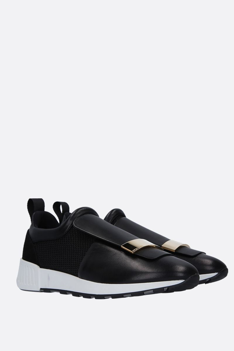 SERGIO ROSSI: sr1 Running sneakers in leather and mesh Color Black_2