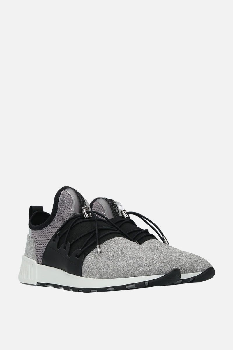 SERGIO ROSSI: sr1 Running sneakers in glitter fabric and mesh Color Silver_2