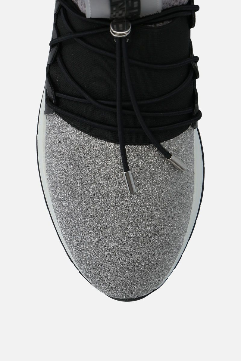 SERGIO ROSSI: sr1 Running sneakers in glitter fabric and mesh Color Silver_4