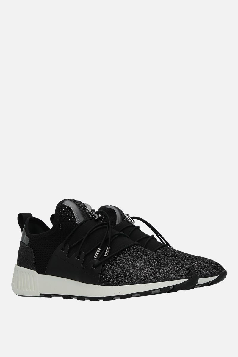 SERGIO ROSSI: sr1 Running sneakers in glitter fabric and mesh Color Black_2