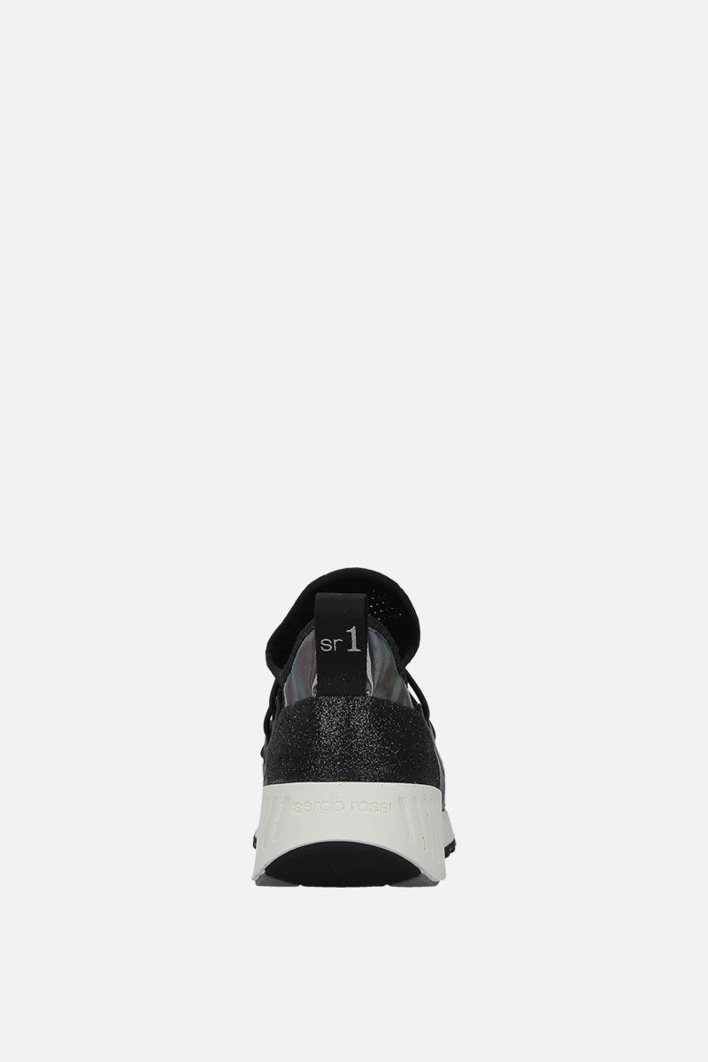 SERGIO ROSSI: sr1 Running sneakers in glitter fabric and mesh Color Black_3