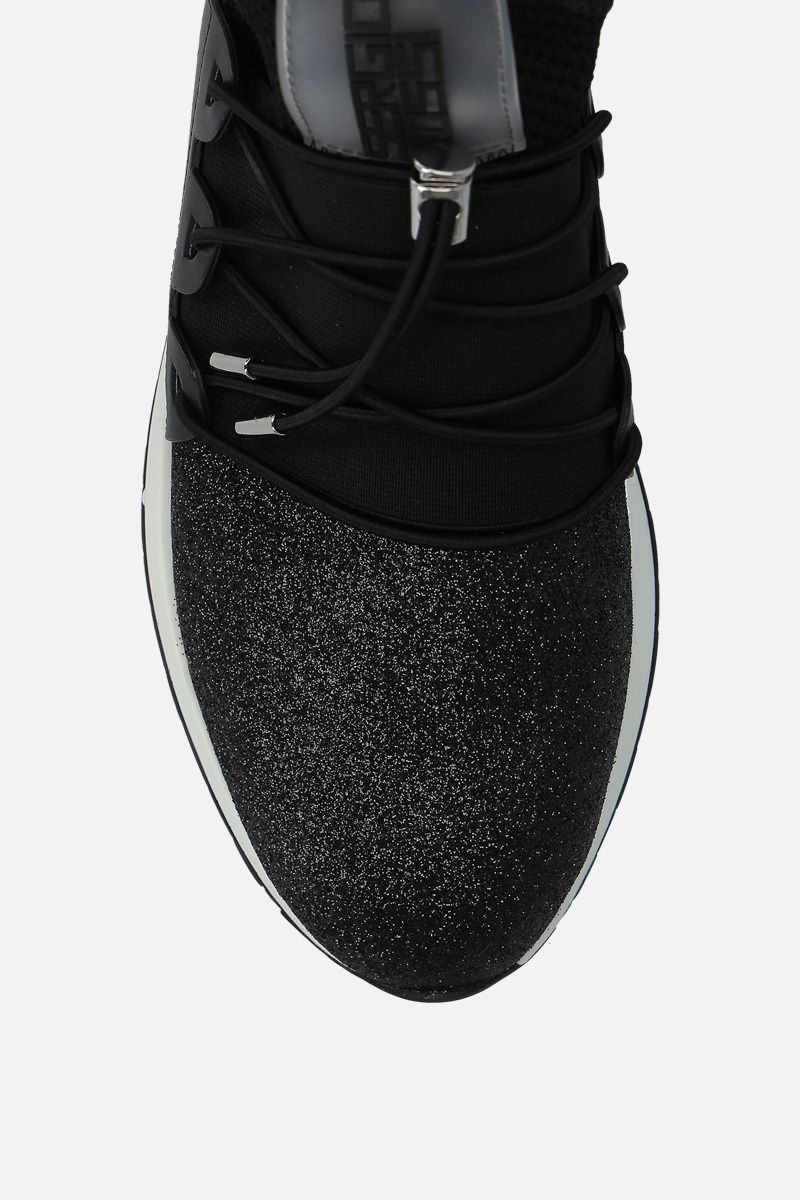 SERGIO ROSSI: sr1 Running sneakers in glitter fabric and mesh Color Black_4
