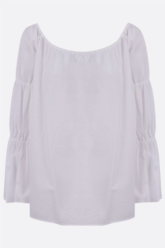 FEDERICA TOSI: textured poplin off-the-shoulder blouse Color White_1