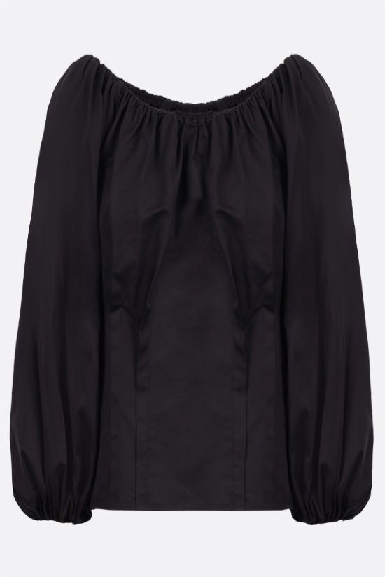 FEDERICA TOSI: gathered cotton blouse Color Black_1
