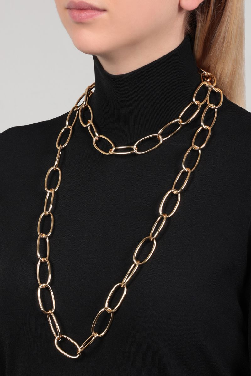 FEDERICA TOSI: Long Bolt brass necklace Color Gold_2