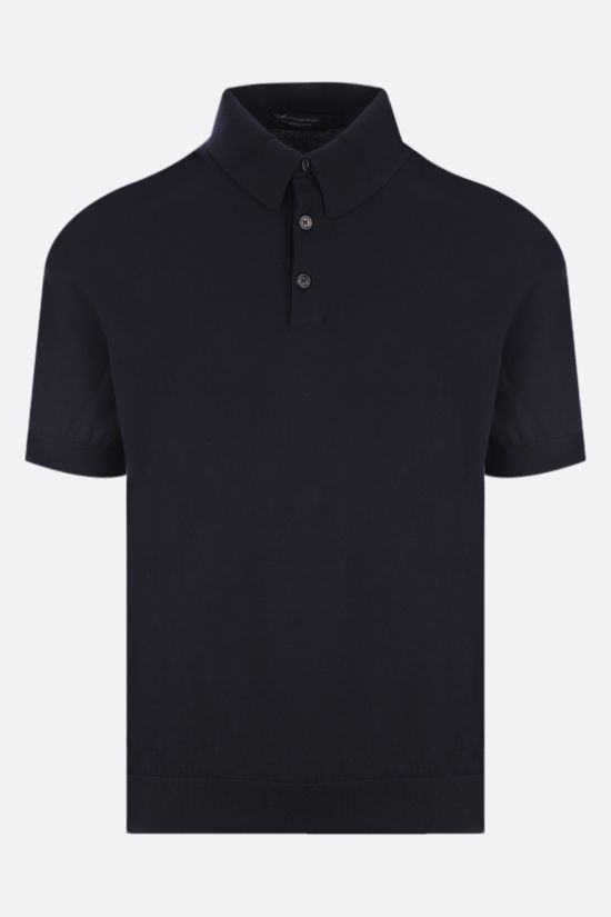 ERMENEGILDO ZEGNA: cotton knit polo shirt Color Blue_1