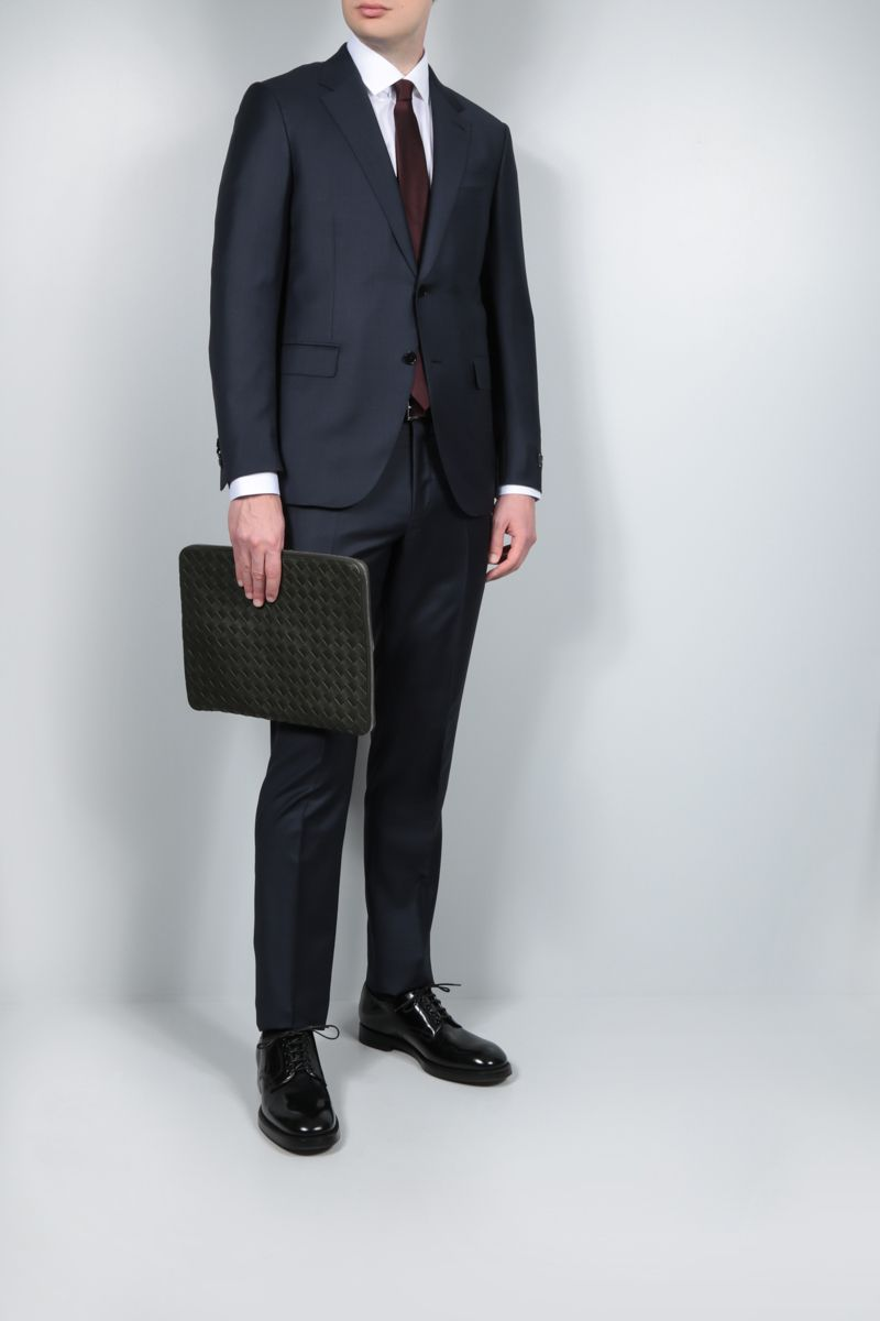 ERMENEGILDO ZEGNA: Milano Easy micro check wool two-piece suit Color Blue_2