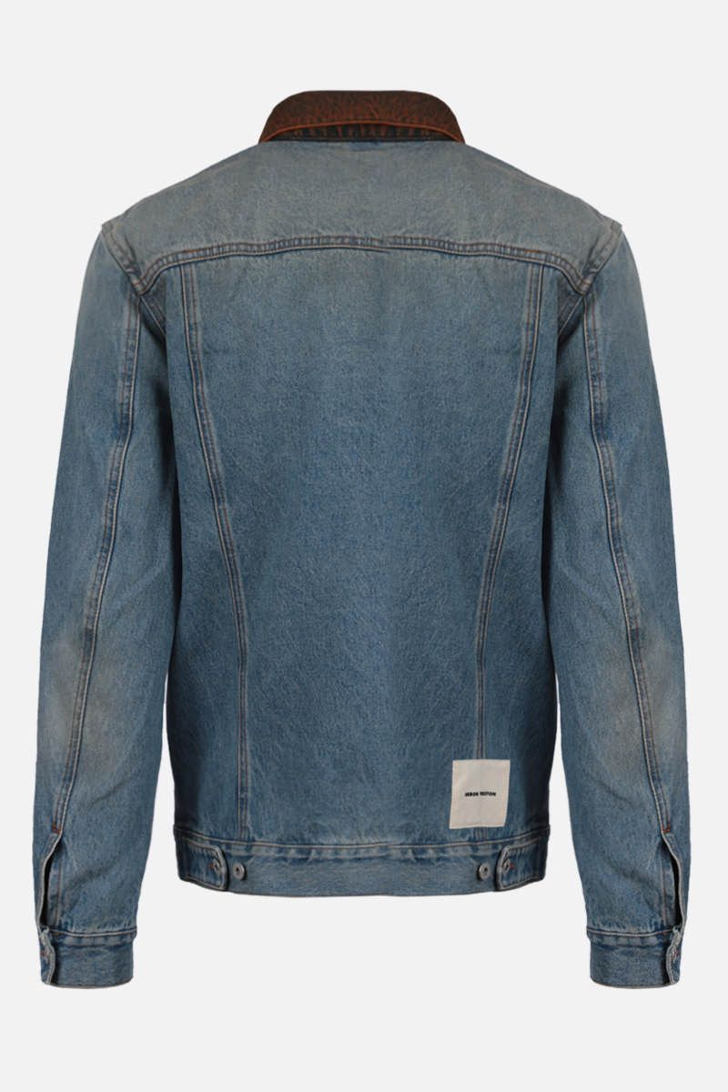 HERON PRESTON: logo label-detailed denim jacket Color Blue_2