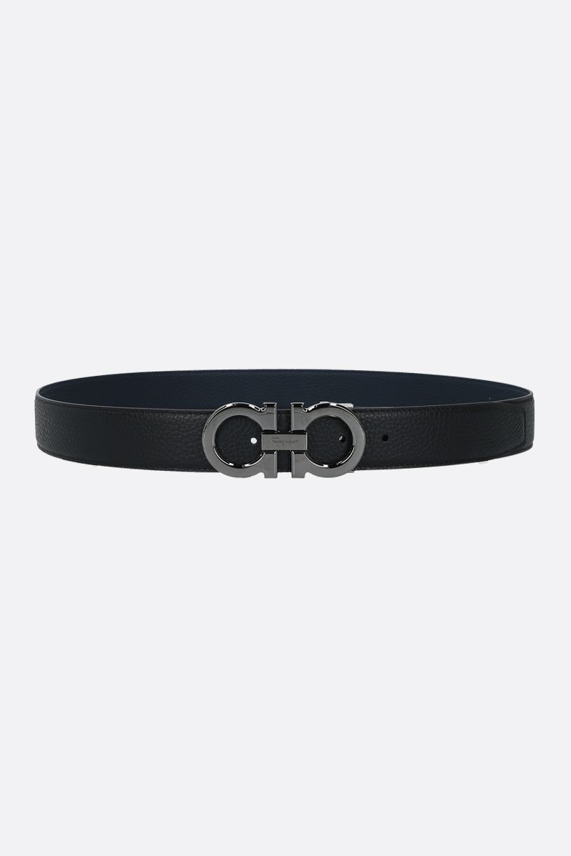 SALVATORE FERRAGAMO: Gancini grainy leather reversible belt Color Black_1