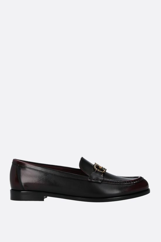 SALVATORE FERRAGAMO: Rolo shiny leather loafers Color Grey_1