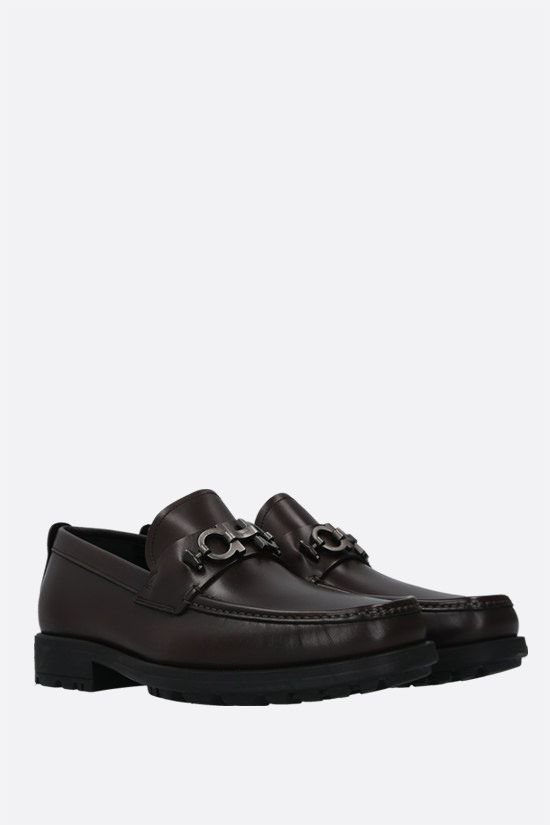 SALVATORE FERRAGAMO: David smooth leather loafers Color Brown_2