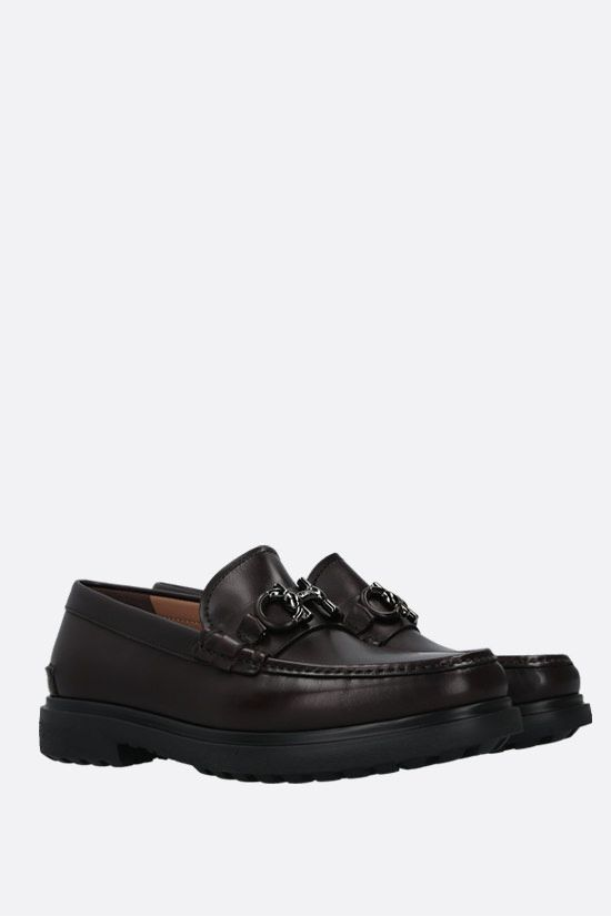 SALVATORE FERRAGAMO: Ready smooth leather loafers Color Brown_2
