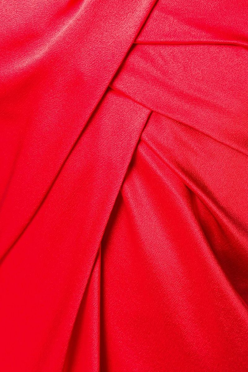 ALBERTA FERRETTI: bow-detailed satin bustier dress Color Red_2