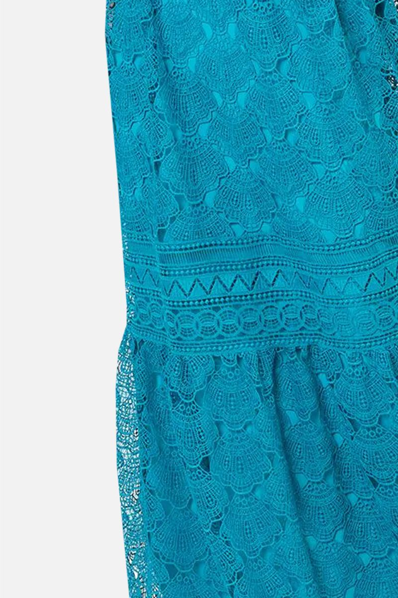 ALBERTA FERRETTI: macramè lace long dress Color Blue_2