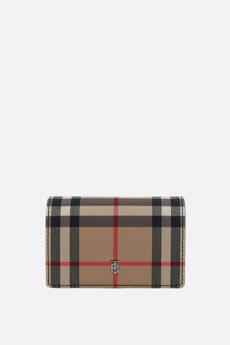 BURBERRY: Jessie canvas and smooth leather card case Color Black_1
