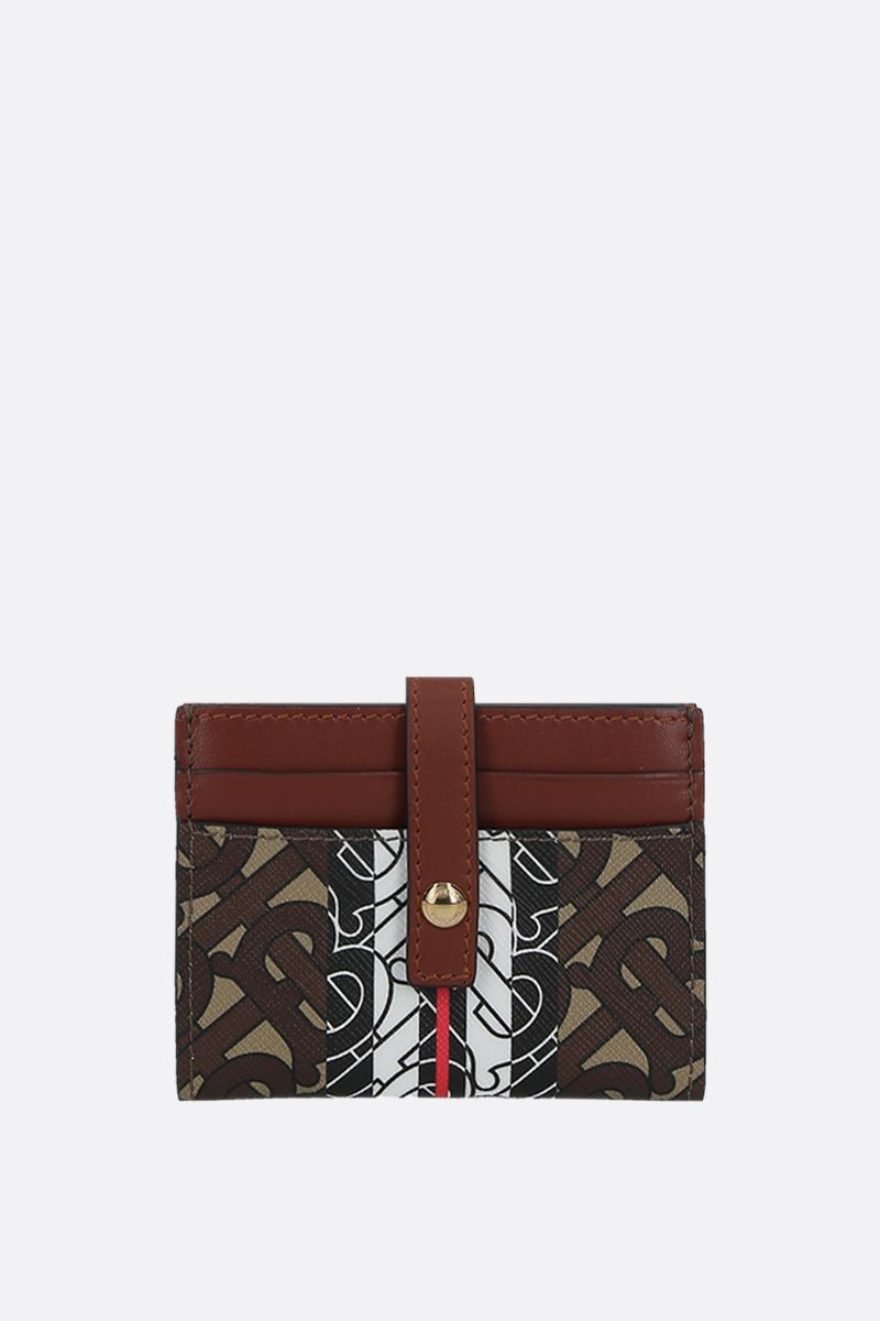 BURBERRY: Sage coated canvas card case Color Brown_1