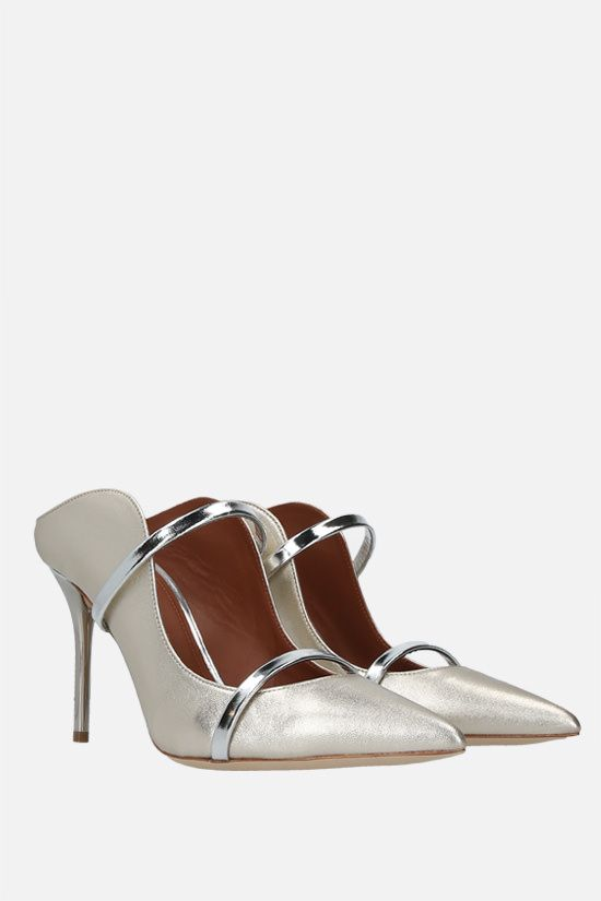 MALONE SOULIERS: Maureen laminated nappa mules Color Silver_2