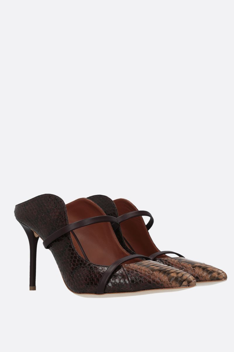 MALONE SOULIERS: Maureen snakeskin and nappa mules Color Brown_2