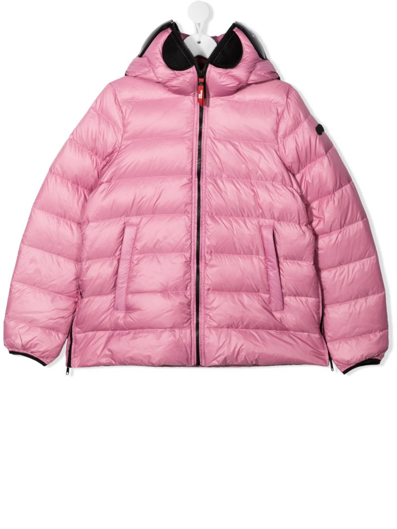 AI RIDERS ON THE STORM KIDS: pom pom-detailed nylon down jacket Color Pink_1