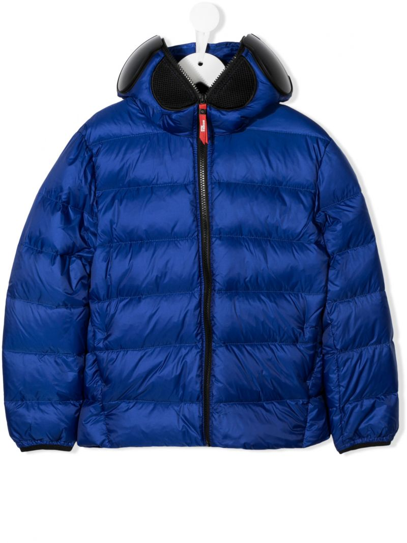 AI RIDERS ON THE STORM KIDS: pom pom-detailed nylon down jacket Color Blue_1