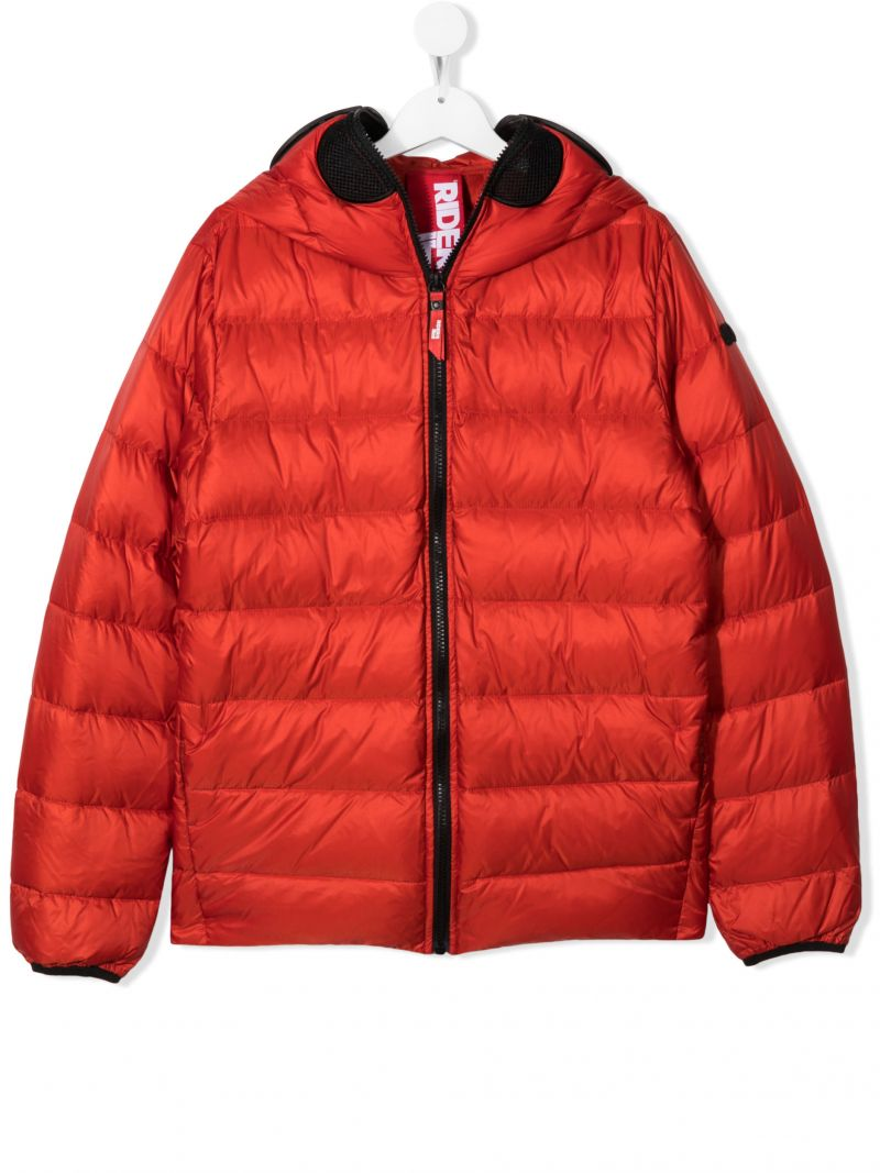 AI RIDERS ON THE STORM KIDS: pom pom-detailed nylon down jacket Color Red_1