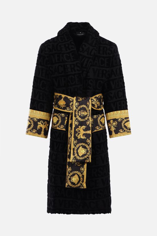 VERSACE: I Love Baroque cotton bathrobe Color Black_1