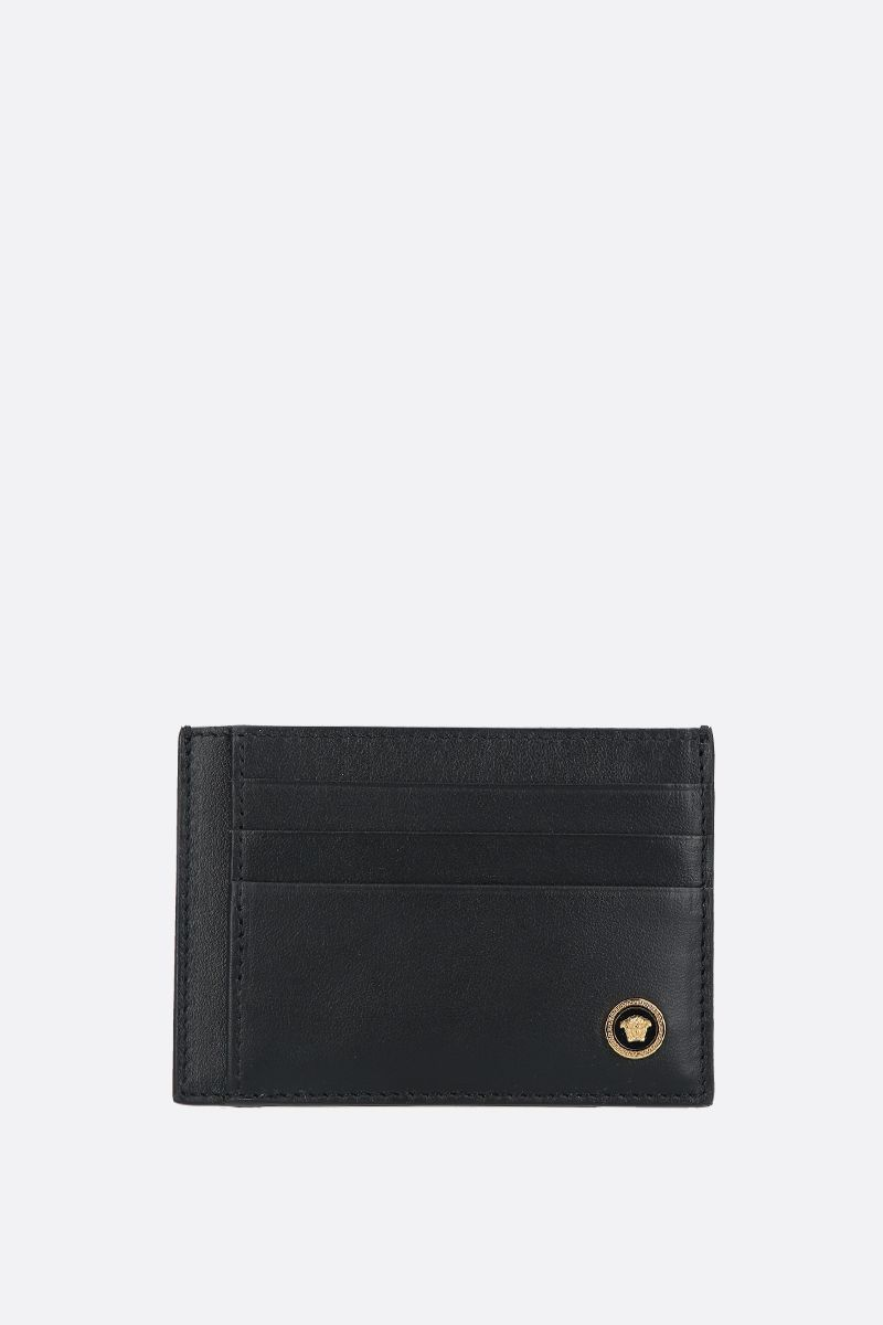 VERSACE: Medusa-detailed smooth leather card case Color Black_1
