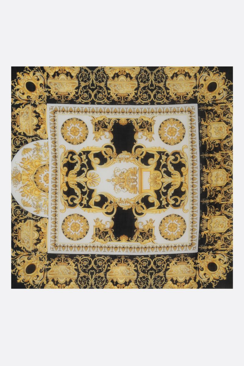 VERSACE: Baroque print wool blend shawl Color Black_2