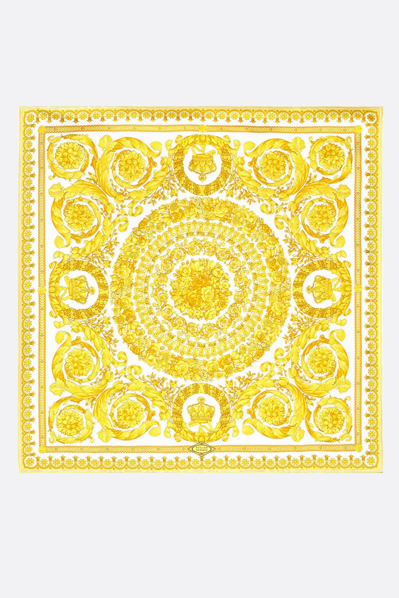 VERSACE: Baroque print silk twill foulard Color White_2