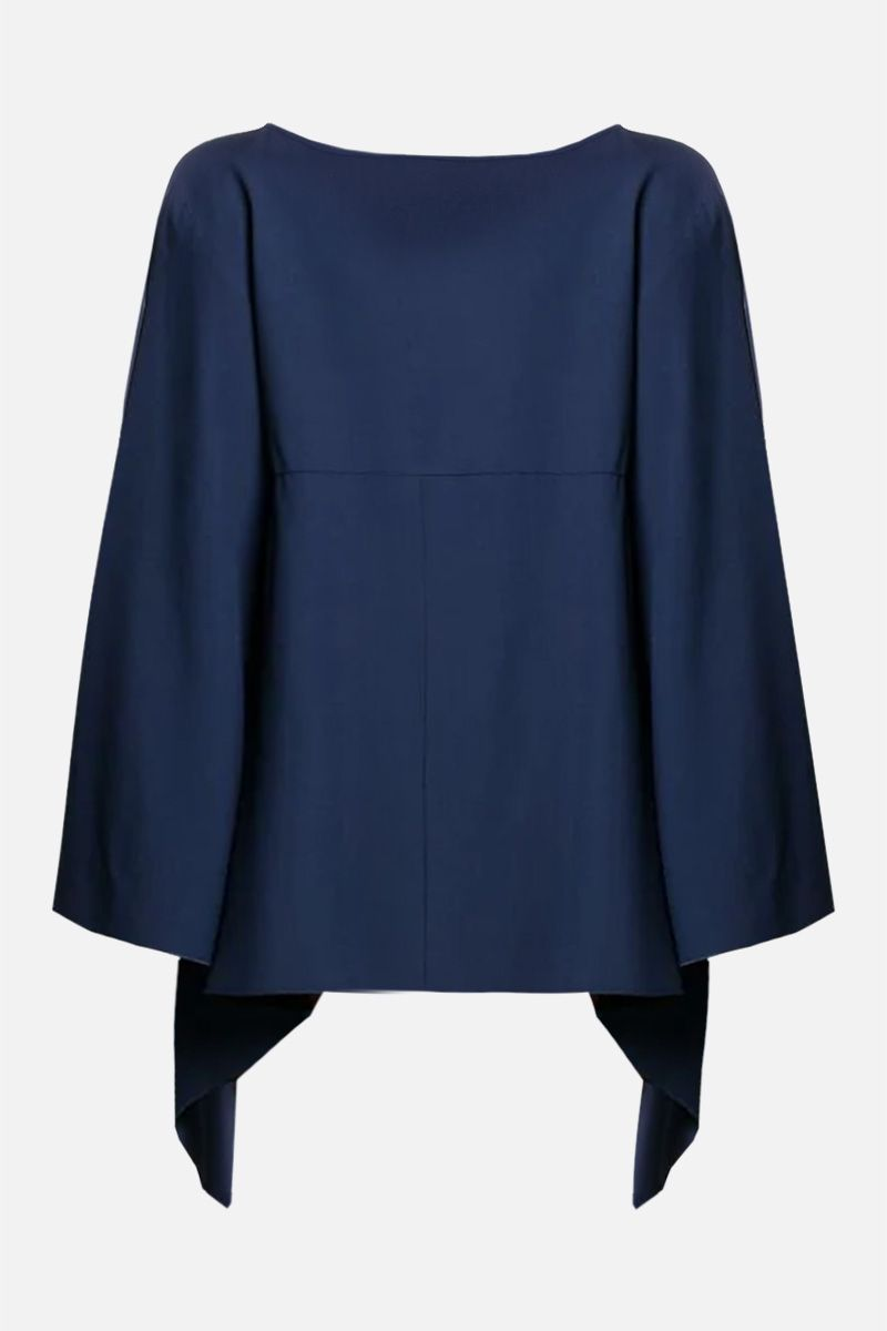 ALBERTA FERRETTI: crepe asymmetric blouse Color Blue_2