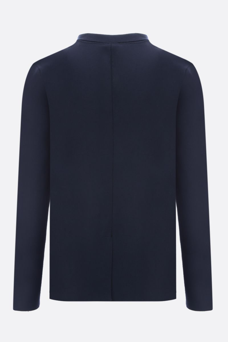 ROBERTO COLLINA: cotton knit double-breasted jacket Color Blue_2