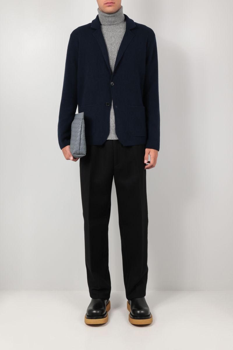 ROBERTO COLLINA: single-breasted cashmere wool blend jacket Color Blue_2