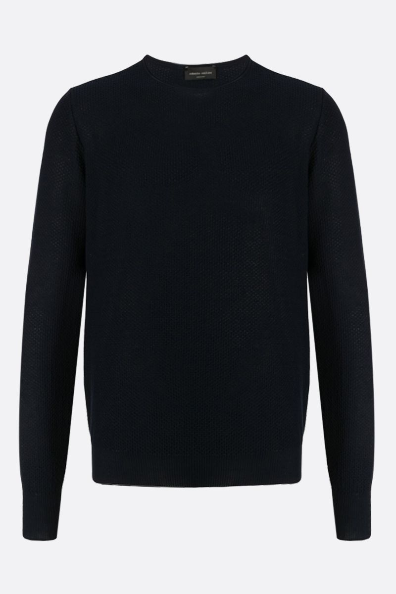 ROBERTO COLLINA: textured-knit cotton pullover Color Blue_1