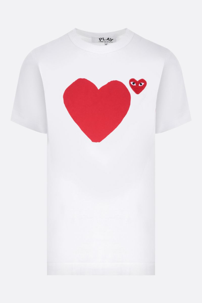 COMME des GARCONS PLAY: t-shirt in cotone stampa logo Colore White_1