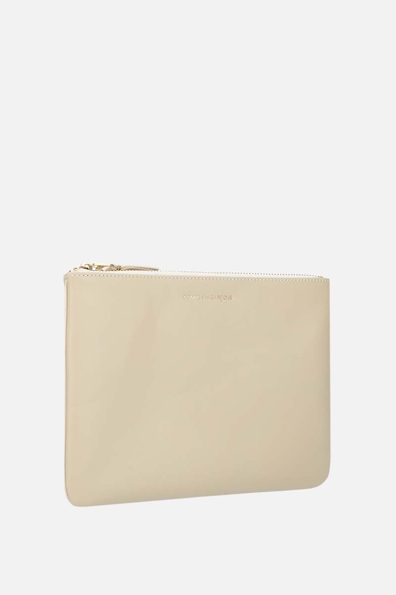 COMME des GARCONS WALLET: smooth leather large pouch Color White_2