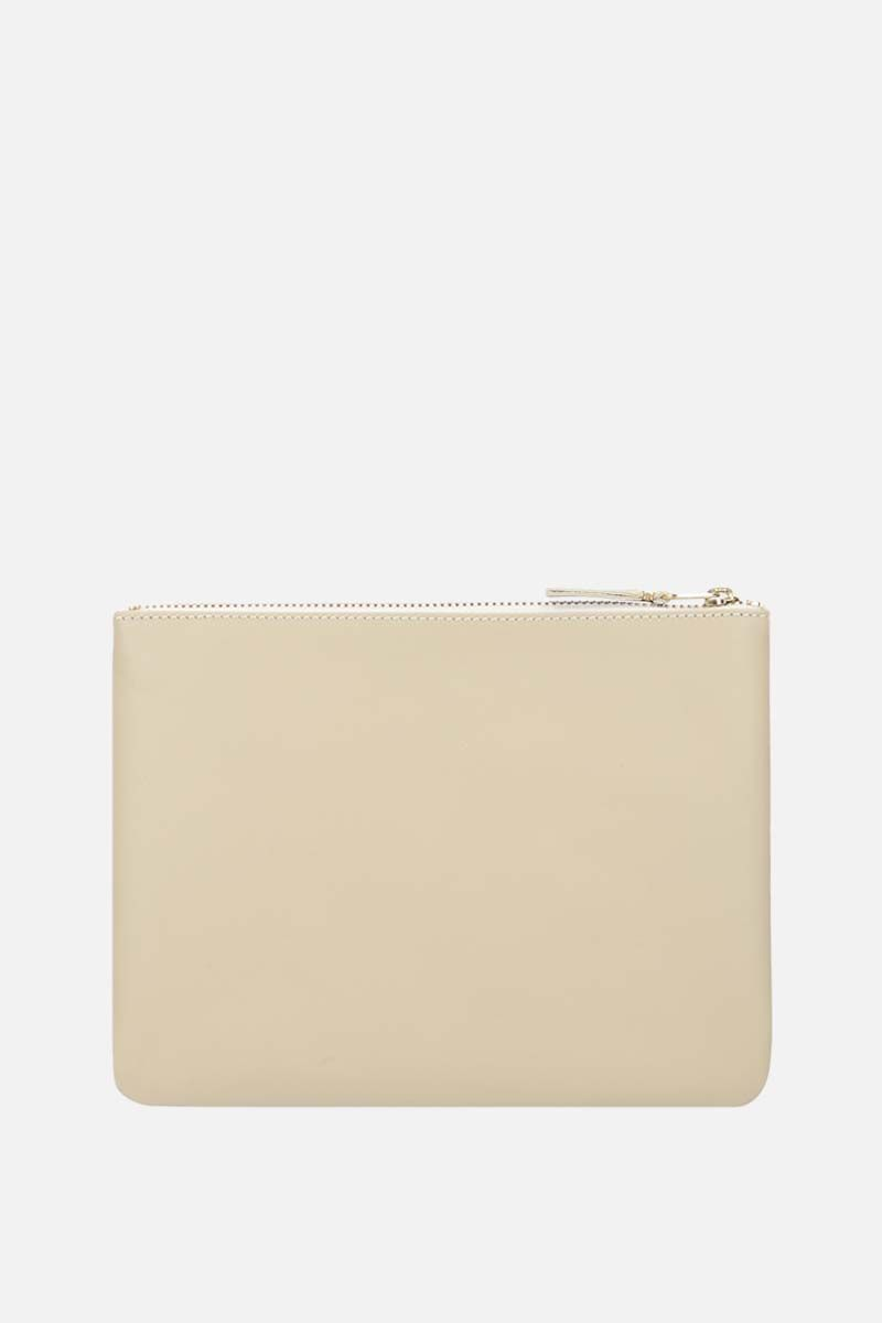 COMME des GARCONS WALLET: smooth leather large pouch Color White_3