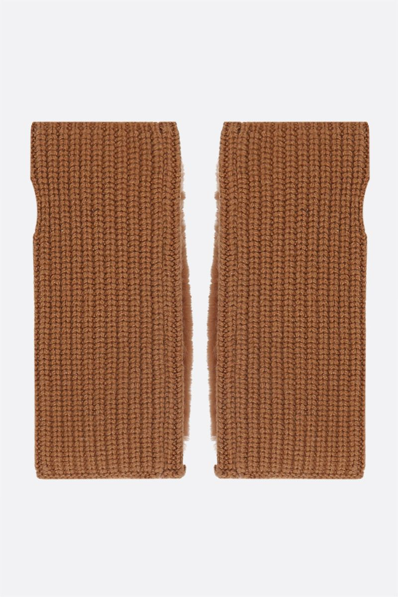 YVES SALOMON: cashmere knit and rabbit fur fingerless gloves Color Brown_2