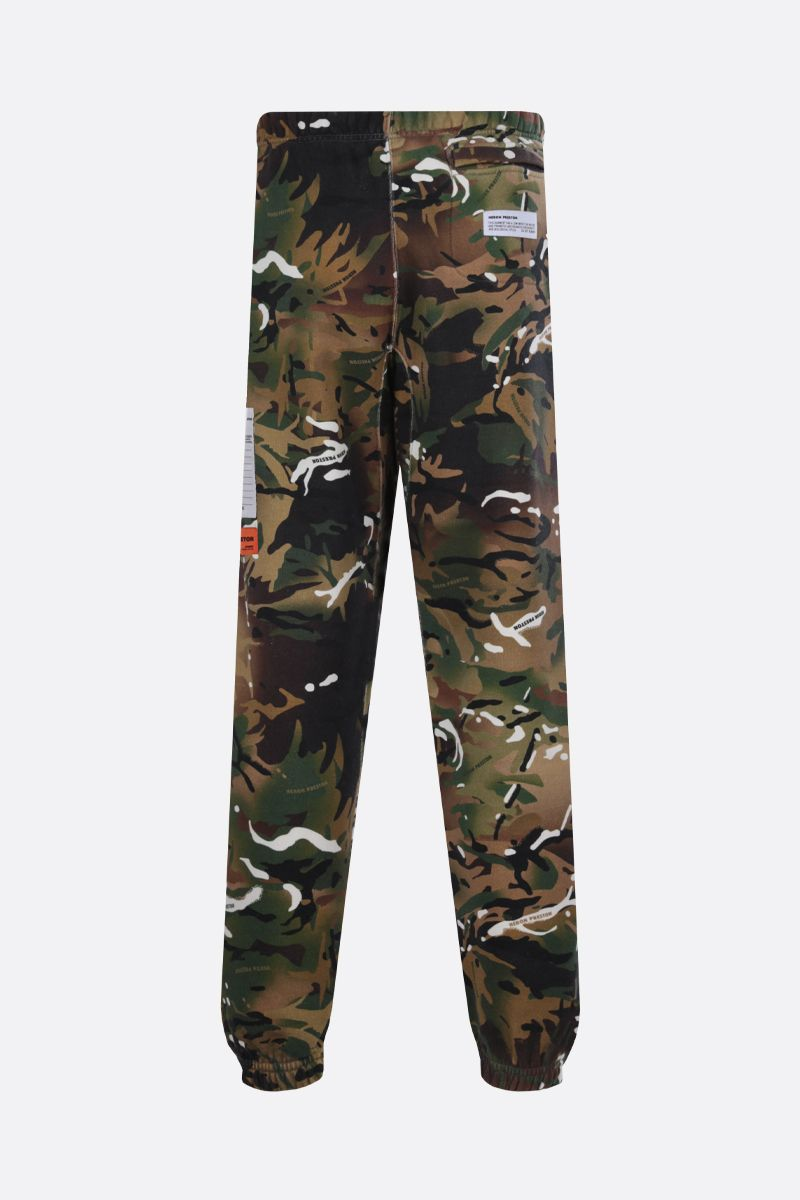 HERON PRESTON: camouflage print cotton joggers Color Green_2