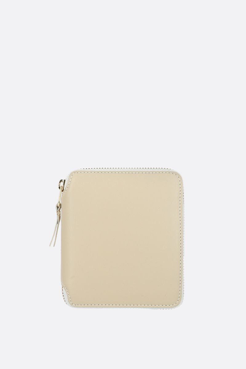 COMME des GARCONS WALLET: smooth leather small zip-around wallet Color White_1