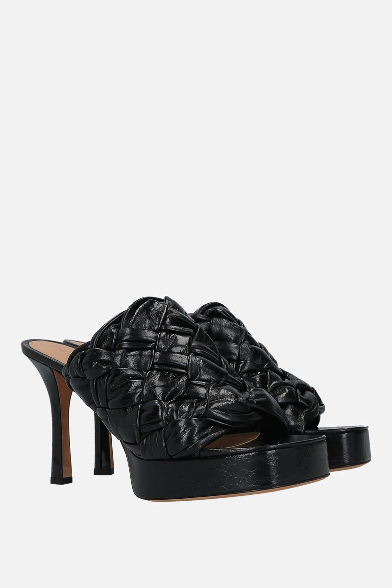 BOTTEGA VENETA: BV Board mule sandals in Intrecciato shiny nappa Color Black_2