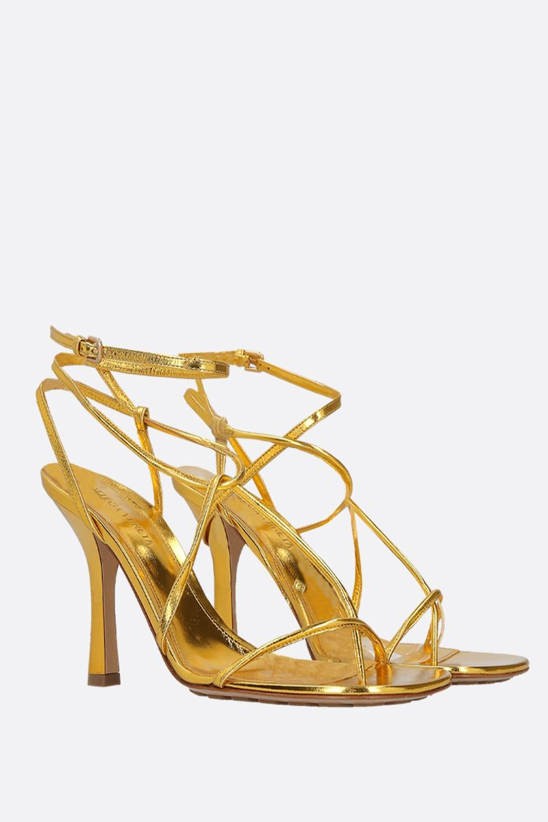 BOTTEGA VENETA: laminated leather sandals Color Gold_2