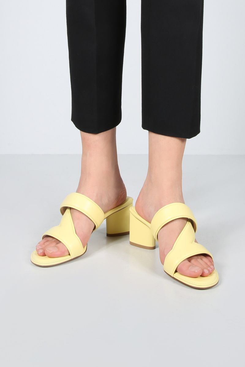 BOTTEGA VENETA: The band smooth leather mule sandals Color Yellow_2