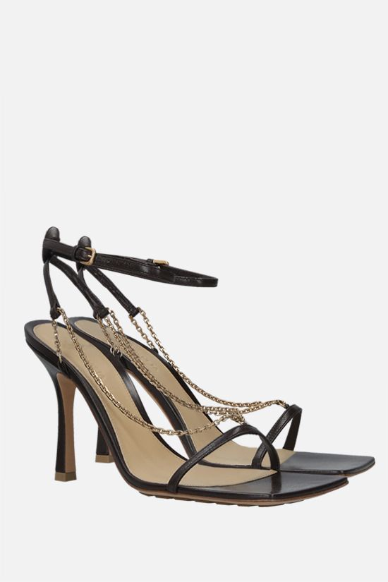 BOTTEGA VENETA: chain-detailed soft nappa sandals Color Brown_2