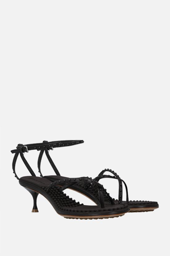 BOTTEGA VENETA: Dot stud-embellished nappa thong sandals Color Brown_2