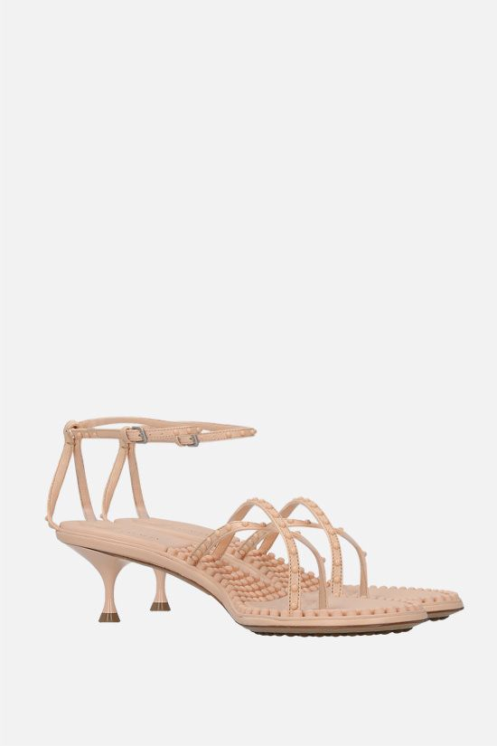 BOTTEGA VENETA: Dot stud-embellished nappa thong sandals Color Neutral_2
