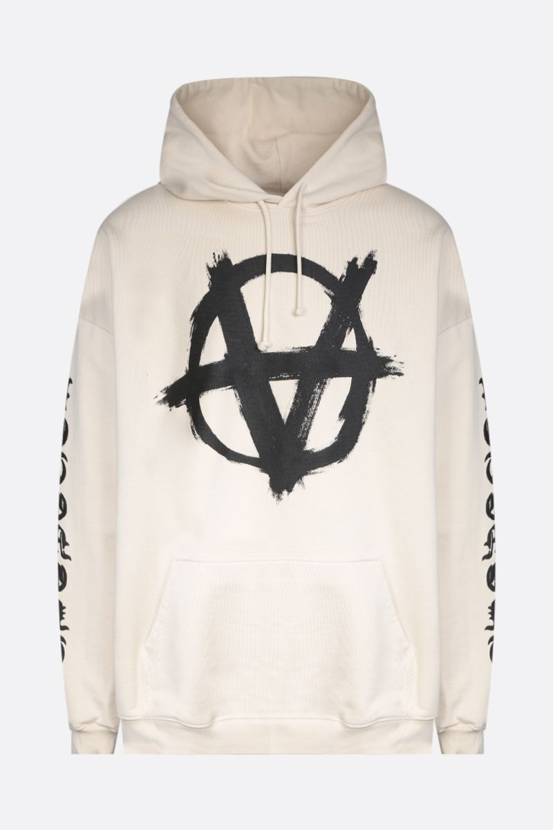 VETEMENTS: Double Anarchy jersey oversize hoodie Color Grey_1