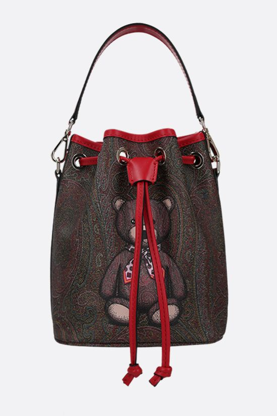 ETRO: Toy print Paisley coated canvas bucket bag Color Red_1