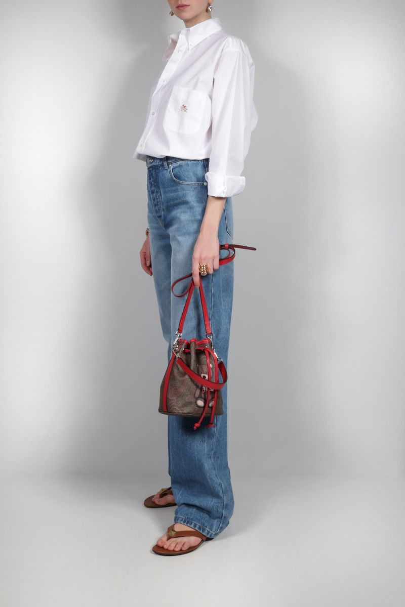 ETRO: Toy print Paisley coated canvas bucket bag Color Red_2