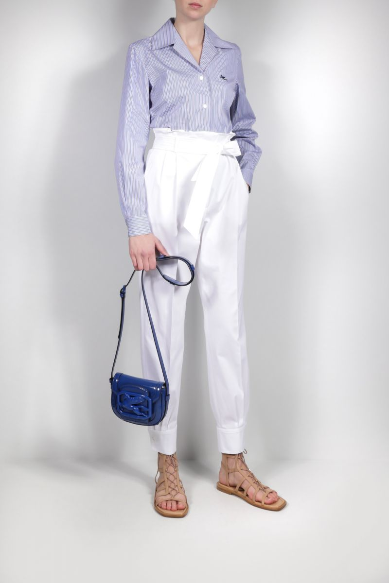 ETRO: Pegaso patent leather crossbody bag Color Blue_2